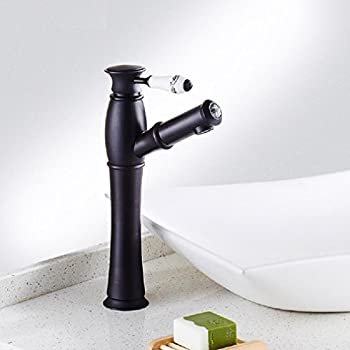 Amzh Basin Taps All Copper Black Antique Pulling Hot & Cold Basin Faucet Bathroom Single Hole Sink Water Tap Can Be Retractable 3