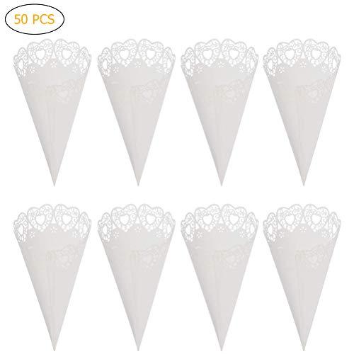 BovoYa 50 Stücke Konfetti Hochzeitsdekoration Zapfen Papierweiß Hochzeit Reis Kornette Blütenblätter geeignet für Hochzeiten, Geburtstagsfeiern