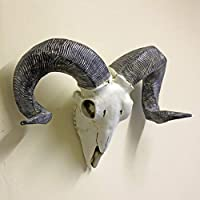 Best Value Here Ram Skull Wall Sculpture Sheep Head Wall Hanging Art Resin Ivory Animal Ornament Home Decor GIFT