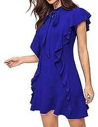 cb0fc25d9eb4 HANGUP Estivo Vestiti da Donna Rotondo Collo Abiti al Ginocchio da Partito Elegante  Abito a Tubino Moda Mini Vestito di Colore Solido…