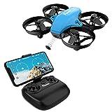 Potensic Drone avec caméra Mini Avion avec télécommande Drone avec WiFi caméra A20W Fonction de Suspension Altitude caméra, adapté aux débutants, Cadeau de Noël (Bleu)