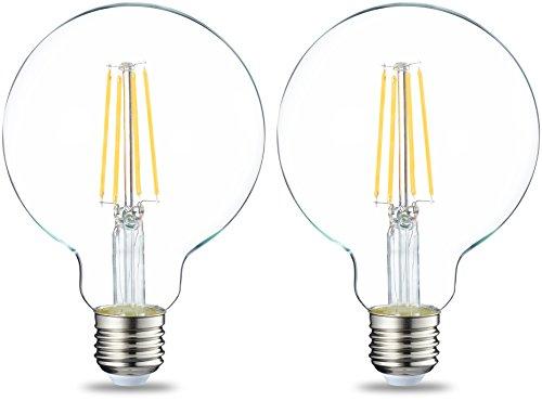 AmazonBasics Ampoule LED Globe E27 G93 à filament, 7W (équivalent ampoule incandescente de 60W) - Lot de 2