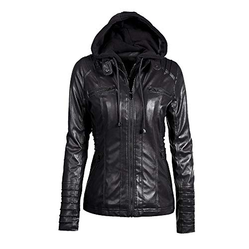 4738568d99e Lazzboy Womens Jacket Coat Faux Leather Hooded Outerwear Stand Collar  Zipper Hood Detachable Motorcycle Jacket Oversized