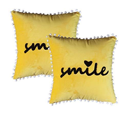 Sykting Gelbe Überwurf-Kissenbezüge, dekorative Kissenbezüge, für Frühling, quadratisch, 45,7 x 45,7 cm, Soild Super weich Art Deco 2 Pieces,18