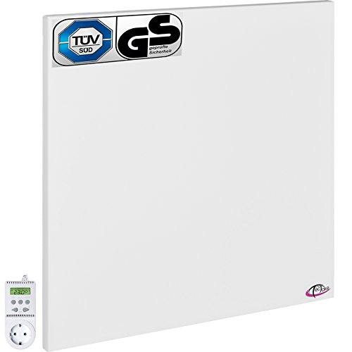 TecTake Infrarotheizung Elektroheizung Infrarot Heizkörper inkl. Wand- und Deckenhalterung Heizfolie Made in Germany - diverse Modelle - (450 Watt mit Thermostat TS05 | Nr. 401706) (Infrarot Heizung Strahler)