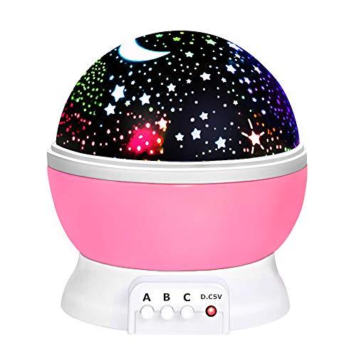 DMbaby Geschenke 2-8 Jährige Mädchen, Sternennachtlichtprojektor 360-Grad-Umdrehung Geschenke für 2-10 Jährige Mädchen Weihnachten Geschenke für Mädchen Kinder Rosa NL03 (Für Weihnachten Zwei-jährige Geschenke)