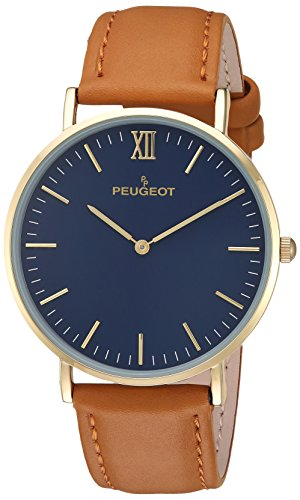 Peugeot Men's Analog-Quartz Watch with Leather-Calfskin Strap 2050BL
