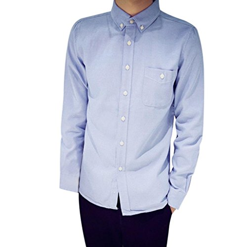 (SEWORLD 2018 Herren Herbst Winter Hemd Slim Oxford Formelle beiläufige Anzüge Slim Fit Langarmhemd Oberteil Oktoberfest (Blau,EU-52/CN-3XL))