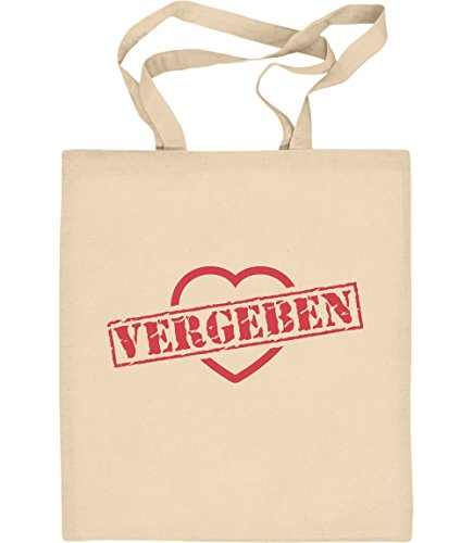 Vergeben Stempel auf Herz - Design für Verliebte Jutebeutel Baumwolltasche One Size (Lustige Für Paare Ideen Kostüme)
