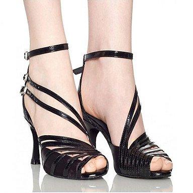 XIAMUO Anpassbare Frauen Leder Wildleder Sohle Satin Leder Schuhe Modern/Salsa/Latin/Swing Schuhe Ferse schwarz Latin Dance Sneakers/Tap Schwarz