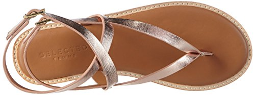 SELECTED FEMME Sfalessa Leather Sandal, Tongs femme Argent - Silber (Silver Peony)