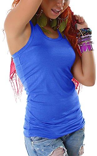 Jela London Damen Stretchy Basic Longtop Tank-Top Shirt armfrei (Einheitsgröße 32 34 36) Blue