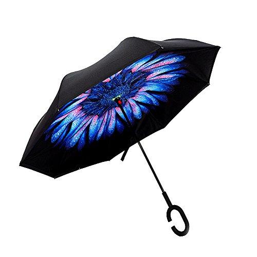 TONGWIN Disegno Creativo C tipo di manico Inverso Doppio Strato Ombrello Forte Anti-vento, Anti-pioggia, Anti-raggi ultravioletti(UPF50+) Ideale per Viaggi e (blu+Nero)