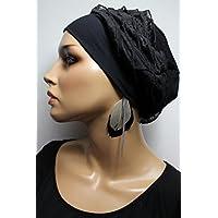 Beanie Mütze Patchwork Schwarz uni mit Rüschen little things in life Chemo Cap Hat Chemomütze Mütze bei Krebs Kopfbedeckung Turban