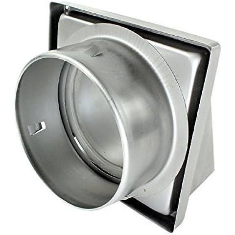 SPARES2GO acero inoxidable capucha externa Extractor pared de ventilación de salida con espuma tipo Retorno trampilla (150 mm, 6