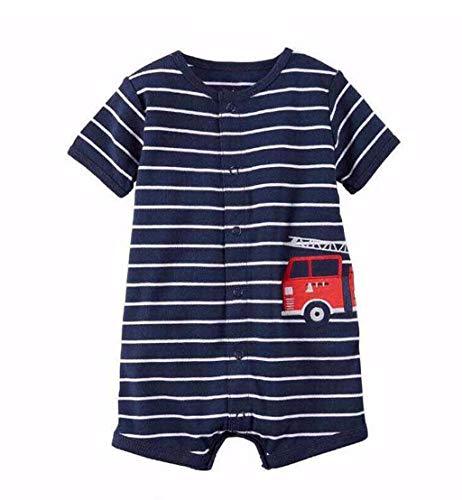 MRULIC Baby Strampler Mädchen und Jungen Einteilige Cartoon Gestreiften Bodysuit Kurzarm Overall Sommer Jumpsuit(Blau,0-6 Monate)