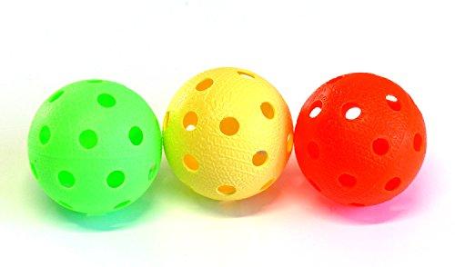 Set da 3 palle per floorball e unihockey Realstick | Colore Mix | Palla da competizione + palla da allenamento con certificato IFF di qualità testata