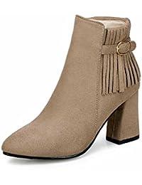 9e78fa8e703 GLTER Mujeres en Punta Martin Boots 2018 Otoño Invierno Moda Borla Hebilla  Botas de tacón Alto