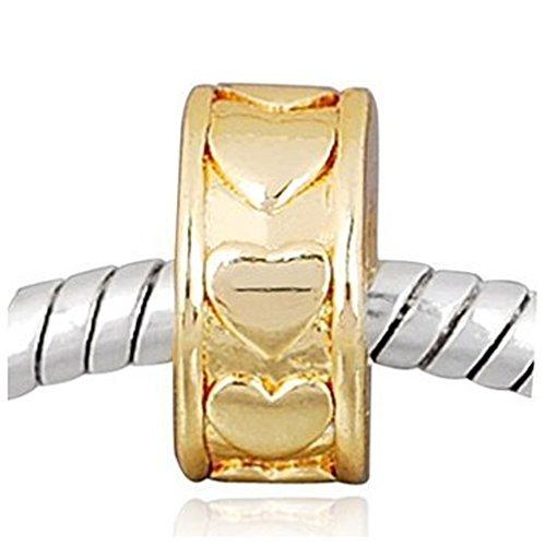 Andante-Stones 14K Gold Spacer Bead Charm Abstandhalter Herzen Element Kugel für European Beads Modul Armband + Organzasäckchen
