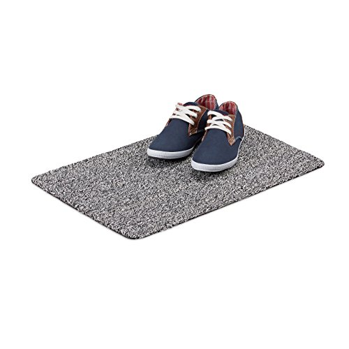 Relaxdays Schmutzfangmatte Waschbar, 40x60 cm Türvorleger aus Baumwolle, Rutschfeste Fußmatte Gummi-Unterseite, Grau, 40x60cm (Schwarzer Schuh Mit Weißer Unterseite)