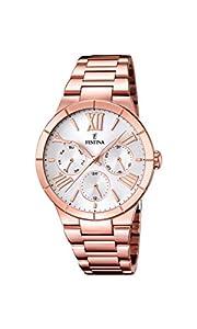 Festina F16718/1 - Reloj de cuarzo para mujer, con correa de acero inoxidable chapado, color oro rosa de Festina