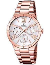 Festina F16718/1 - Reloj de cuarzo para mujer, con correa de acero inoxidable chapado, color oro rosa