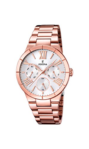 Festina Women's Quartz Watch with White Dial Analogue Display and Rose Gold Stainless Steel Plated Bracelet F16718/1