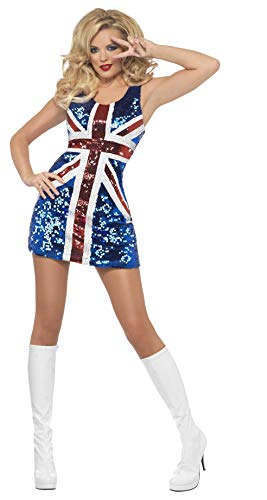 Fever Damen All that Glitters Rule Britannia Kostüm, Kleid, Größe: S, 25001 (Material Girl Fancy Dress Kostüm)