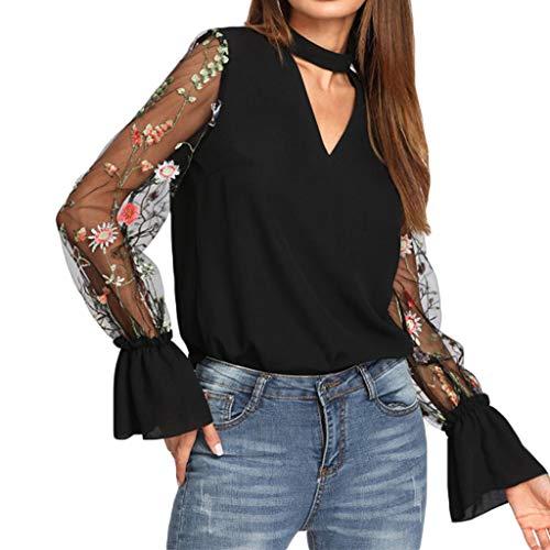 AmyGline T Shirt Damen Oberteile Mode V-Ausschnitt Bestickte Mesh Spleiß Trompete Ärmel Hemd Bluse Tops Schwarz -