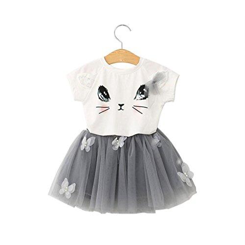 Tutu Zebra Kind (Saingace Kind-Mädchen-Katze-Muster-Hemd-Spitze-Schmetterlings-Tutu-Rock-Satz Kleidung Kinderkleidung Kleidung Outfits Bekleidungssets bekleidungssets)