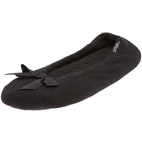 Totes Isotoner Women's Terry Black Slide 98968BLKXL Extra Large
