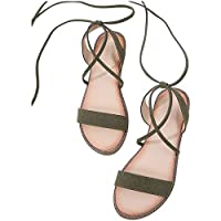 Ansemen Sandals for Women - Open Toe Tie Up Ankle Strap Flats Comfortable Lace up Suede Shoes Size 2.5-7 Green
