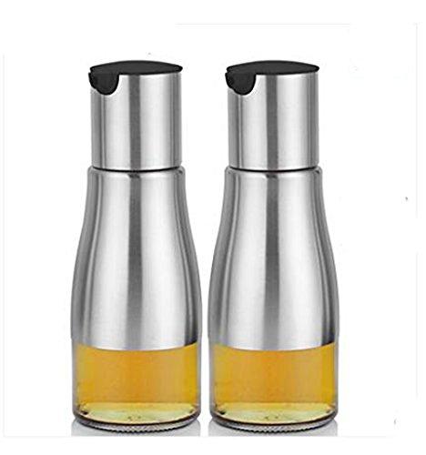 YoHom 11 oz en acier inoxydable et verre Oliver huile Bouteille réservoir pour le vinaigre / Soy Sauce Dispenser, Lot de 2