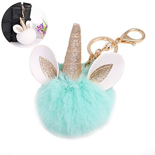 Arco iris lindo del unicornio del anillo dominante de la felpa suave de la bola llavero colgante colgantes para los niños (luz verde)