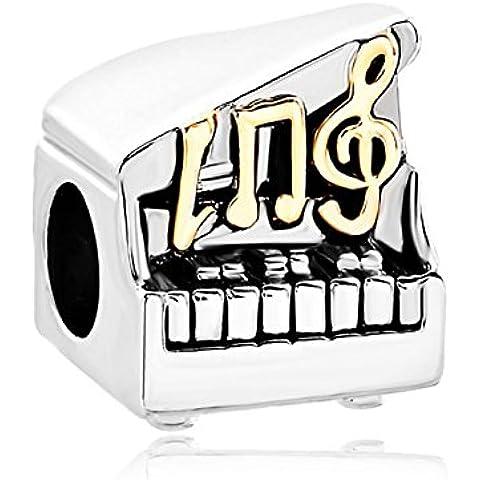 Música Encanto Nota G Clef agudos abierto Venta barato de teclas de piano Jewelry–Beads Fit Pandora pulseras