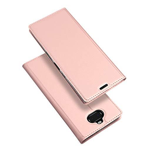 DUX DUCIS Coque Sony Xperia 10, Premium Étui de Protection [Stand Support] [Porte-Cartes de Crédit] [Fermeture Magnétique] TPU Bumper Housse en Cuir pour Sony Xperia 10 (Rose)