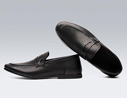 Scarpe Uomo in Pelle Scarpe in pelle morbida da uomo con tacco alto e scarpe stile britannico ( Colore : Caffe'colore , dimensioni : EU44/UK8.5 ) Nero