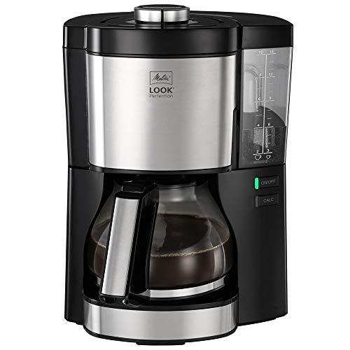 Melitta Look V Perfection 1025-06 Filterkaffeemaschine mit Glaskanne, abnehmbaren Wassertank und Entkalkungsprogramm (schwarz), Kunststoff, 1.25 liters