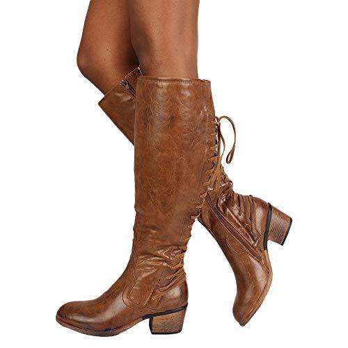 OSYARD Damen Schnürer Langschaftstiefel Seitlicher Reißverschluss Lederstiefel Sole Regenstiefel, Frauen Mode Leder Schnürschuhe High Heels Stiefel Winter Sexy Knie Stiefel (245/40, Braun)