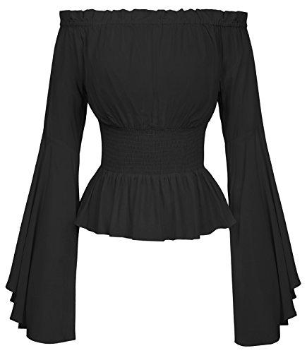 Blusas Festivas señoras Blusa Negra Manga Larga Camisa gótica L BP468-1