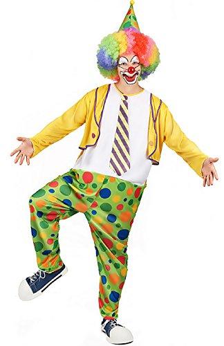 te ♛ Größe Eine - Kostüm Verkleidung Karneval und Halloween von Clown Fett von Zirkus Farbe Mehrfarbig Erwachsene Mann Junge (Fett Kostüme Für Jungen)