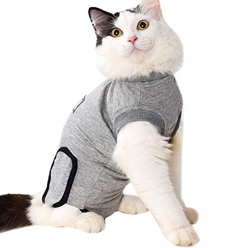 T.boys's Haustier  Cat Medical Pet Care Clothing &odysuit für Katzen, Nach der Operation Tragen,Cone of Shame for Post Operative, Pet Healing, Anxiety, Infection, Wounds & Bandages (M, Gray) -