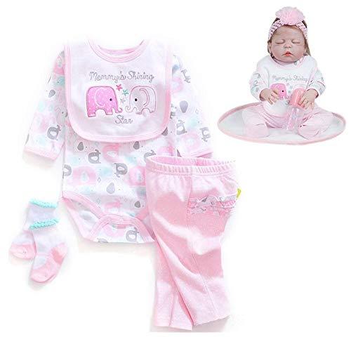 Dubleir Reborn Baby Kleidung, 20-22 Zoll EIN Set Puppe Kleidung, Elefant-Muster Simulation Babykleidung, Puppenbekleidung - Muster Kleidung Puppe