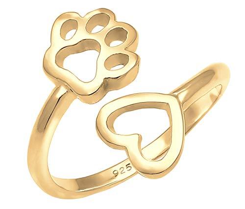 Nenalina Ring Damen Silberring 18 K Vergoldet Verstellbar mit Pfote und Herz Symbol offen für Frauen und Mädchen, 925 Sterling Silber, Farbe Gold, 0603181819