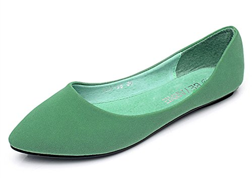 Aisun Damen Nubukleder Pointed Toe Low-Cut Flach Slipper Grün