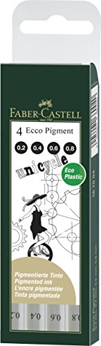 Faber Castell 167004 - Estuche con 4 rotuladores calibrados ECCO Pigment con grosores de trazo de 0.2, 0.4, 0.6, 0.8, color negro