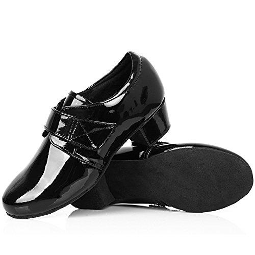 Oasap Boys Men Solid Velcro Chunky Heels Latin Dance Shoes Black