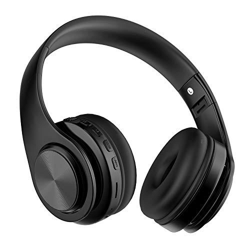 Auriculares Diadema Bluetooth Inalambricos, MeiahuaTu Cascos Bluetooth Inalambricos Plegable con Micrófono, 15hrs Reproducción de Música, Hi-Fi Sonido Estéreo para PC, Móviles(Negro)