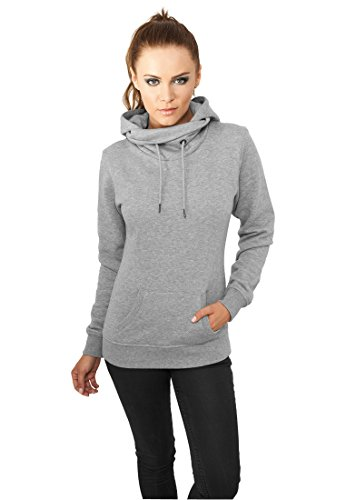 Ladies High Neck Hoody grey L