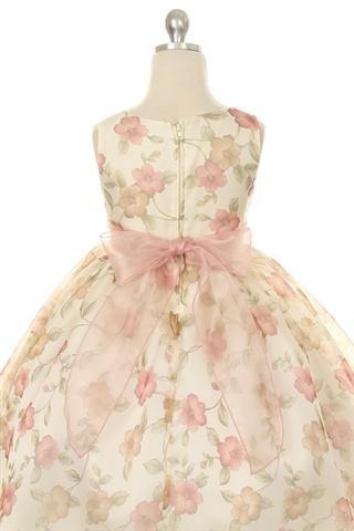 Needybee Peach Organza Floral Printed Dress